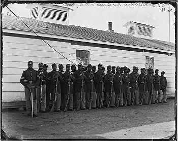 """4th U.S. Colored Infantry. Though black soldiers were forced to endure material shortages, inferior pay, and a general lack of regard from white commanders and politicians, by war's end some 200,000 had enlisted to serve the Union cause."""