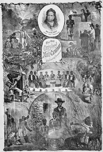 """The Old Original North Carolinians, Ex-Slave Troupe,"" lithograph poster, 1876. The central image shows these minstrels onstage in the traditional semicircle, but the inclusion of women in the troupe was an innovation that began at around this time. Although African American minstrels were not new—a few black troupes had performed in earlier days—they became increasingly important after the Civil War. If the North Carolinians were typical, they may have included spirituals in their show."""