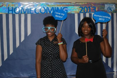 Ms. Jones and Mrs. Sawyer (Chesnutt Library Photo Booth), Homecoming 2013, Fayetteville State University)