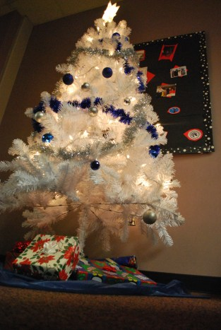 Wordless Wednesday, Holiday Decorations (White Tree in Staff Lounge) - Chesnutt Library, Fayetteville State University