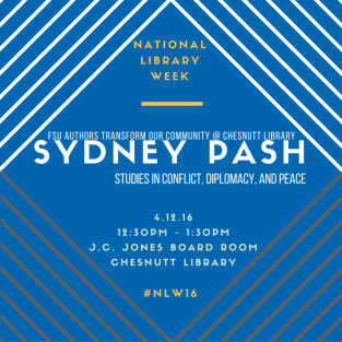 Sydney Pash will talk from 12:30-1:30