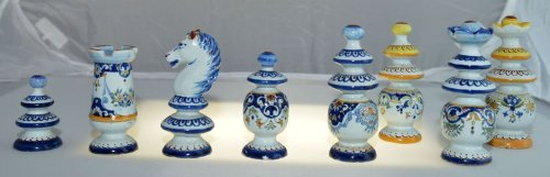 Antique Chess Set French Faience