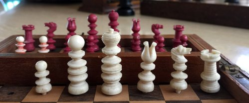 Lot #626. Clavert Bone Travel Chess Set
