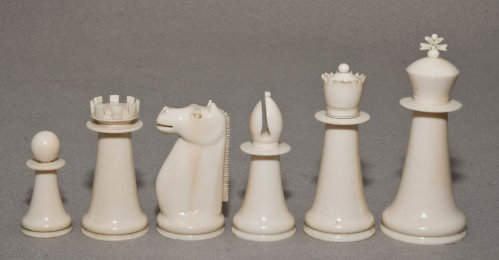 Antique Indian Ivory Staunton Chess Set, Green