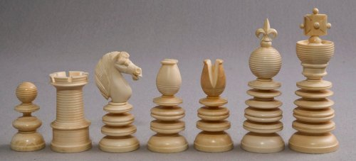 "Lund Ivory Chess Set, 3.4"" King"