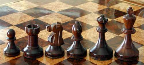 Baruch Harold Wood Antique Chess Set
