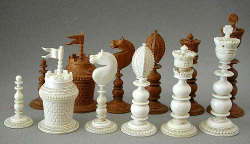 Antique Vizagapatam Ivory and Sandalwood Chess Set