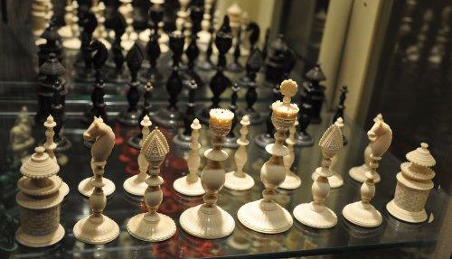 "Antique Vizagapatam Chess Set, 4-5/8"" King"
