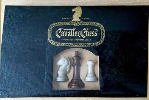 Vintage Cavalier Tournament Edition Alabaster Chessmen, Sealed