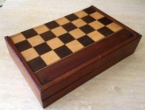 Antique Folding Chess Backgammon Board Box