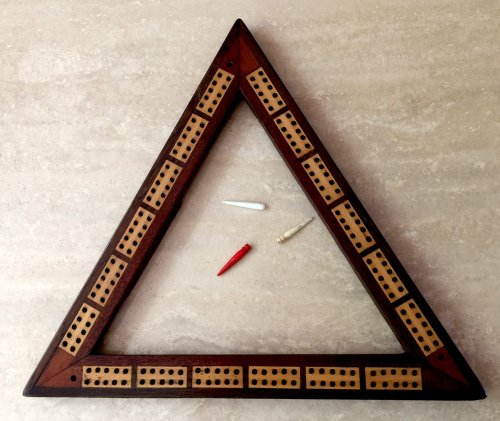 Antique Triangular Cribbage Board