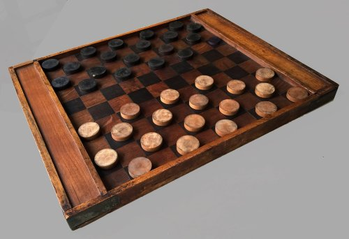 Antique Continental Draughts and Checkers Set