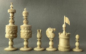 Decorative Barleycorn Chess Pieces
