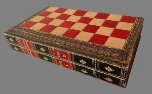 History of America Folding Antique Chess Backgammon Board