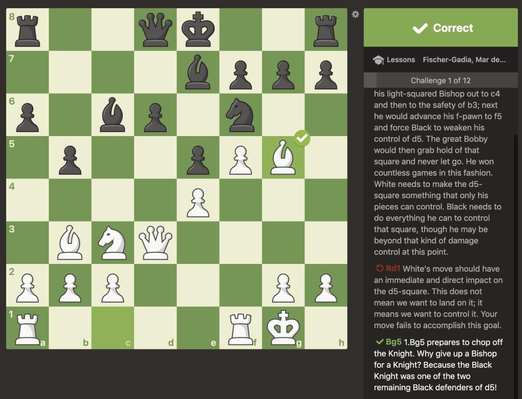Fischer lesson correct move