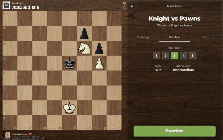 knight vs pawn practice