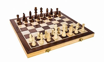 High Quality 15″ Classic Folding Wooden Chess Set – Includes Wood Pieces, Board & Storage Pouches! (2015 Model)