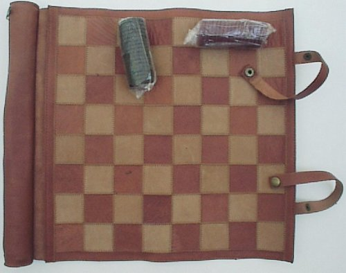 Roll-up Travel Chess Checkers Set Top Grain Leather