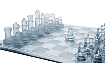 Glass Chess Set, 3 Sizes (7.5″/10″/14″) – Elegant Design- Durable Build- Fully Functional – 32 Frosted & Clear Pieces – Felted Bottoms- Easy to Carry- Reassuringly Stable – Perfect Gift! (10″ x 10″)