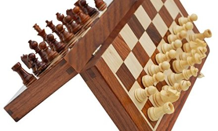 SouvNear Chess Set – 14×14″ Folding Standard Magnetic Travel Chess Board Game Handmade in Fine Rosewood with Storage for Chessmen