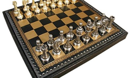 Staunton Metal on Leather Chest Chess Set