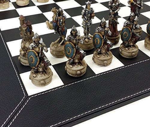 Skeleton Slayer Gothic Fantasy Skull Chess Set W/ 18″ Black and White Faux Leather Board