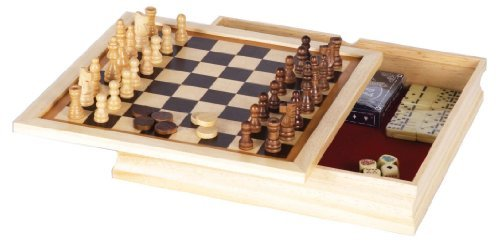 GREAT 6 – IN – 1 GAME SET: Chess, Checkers, Backgammon, Poker Dice, Dominoes, and Playing Cards!