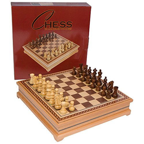 Helen Chess Inlaid Wood Board Game with Weighted Wooden Pieces – 15 Inch Set