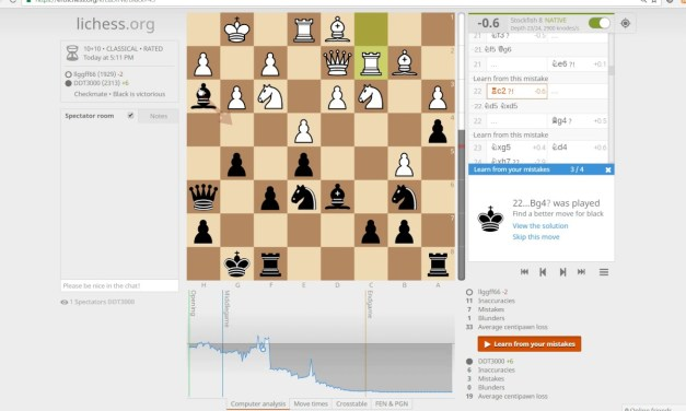 Learning from your mistakes – Lichess has best online chess features and it is free!