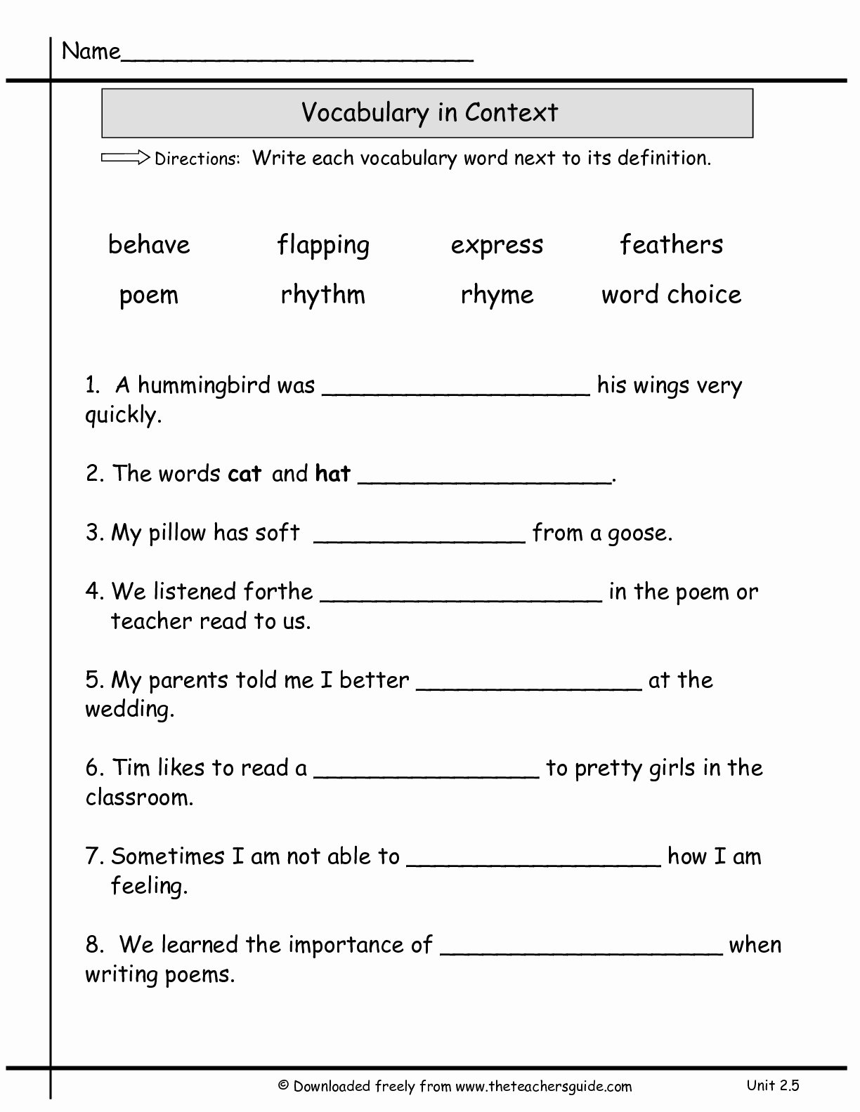 50 2nd Grade Vocabulary Worksheet
