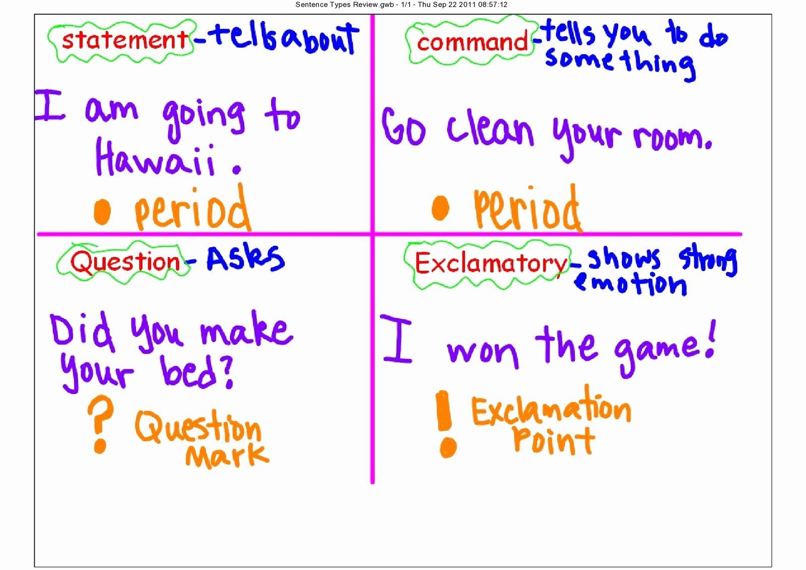 50 4 Types Of Sentences Worksheet