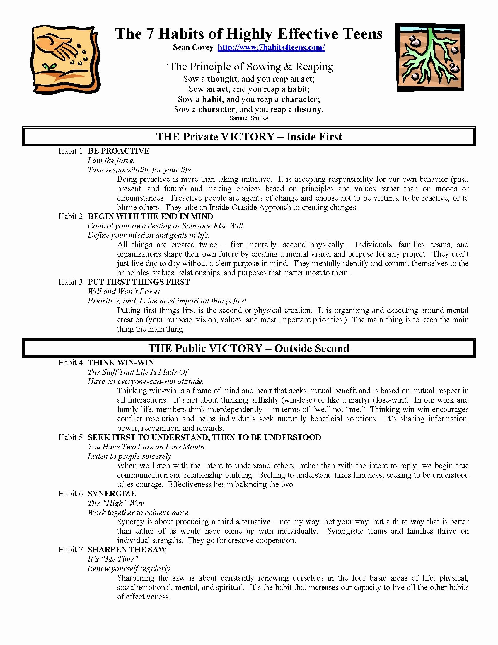 50 7 Habits Worksheet