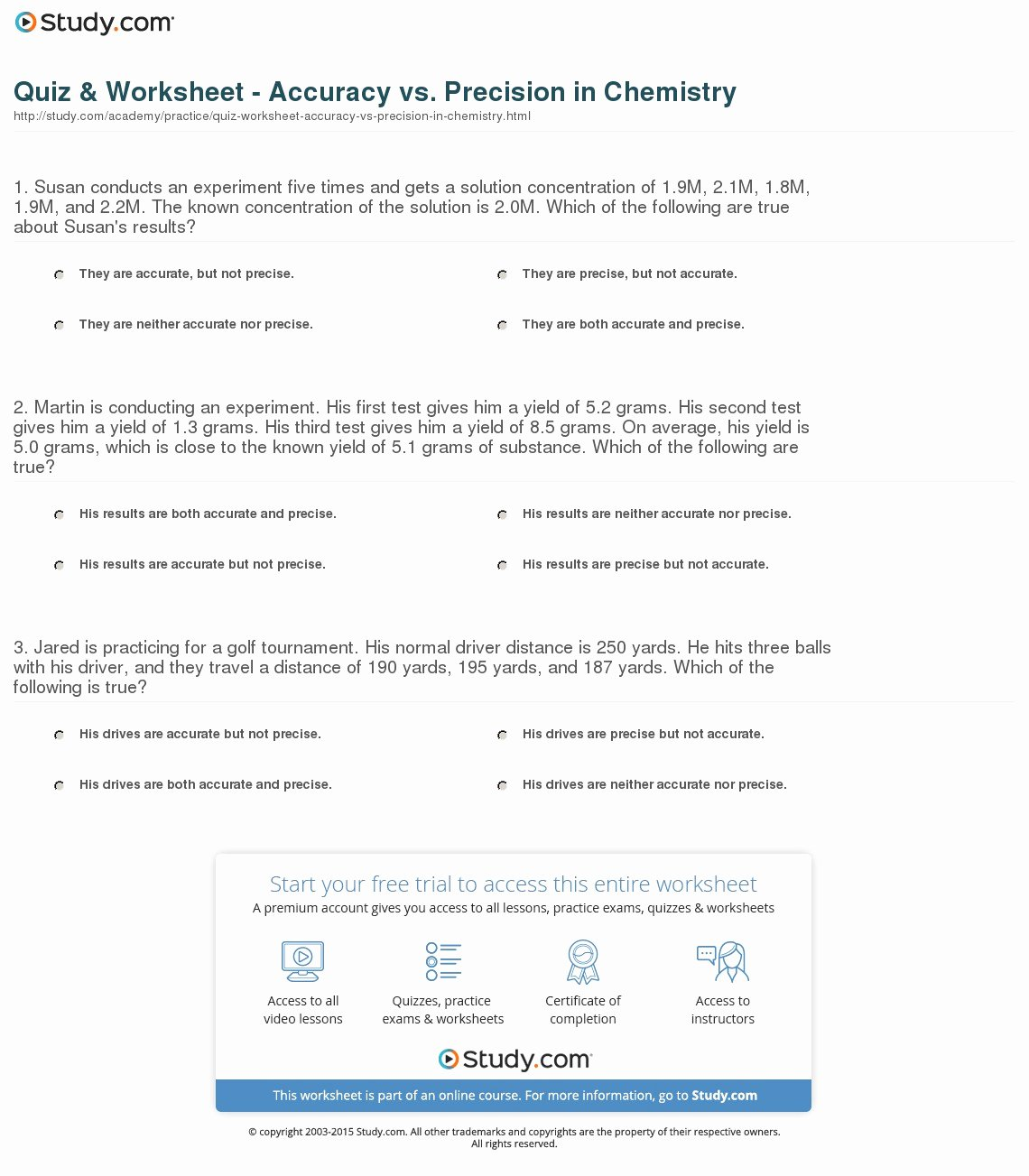 50 Accuracy And Precision Worksheet