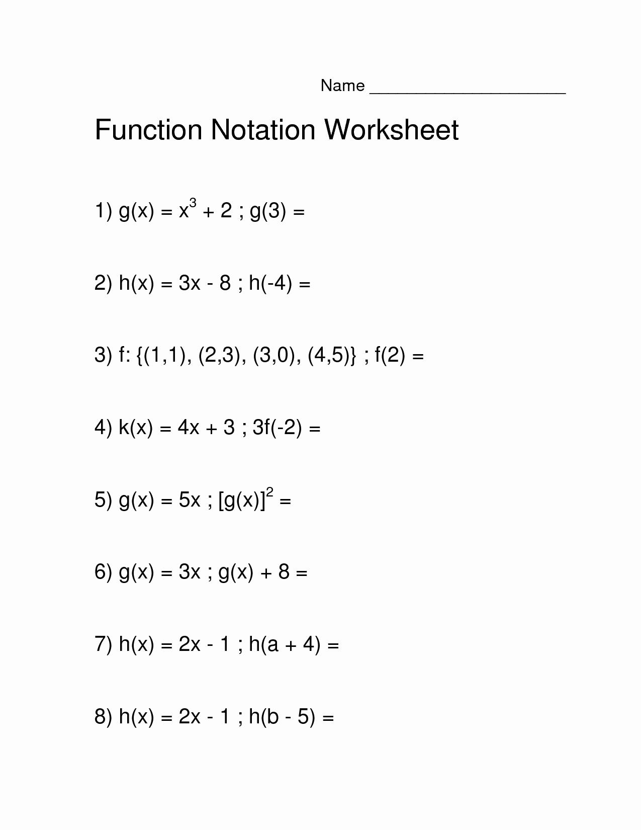 50 Algebra 1 Functions Worksheet