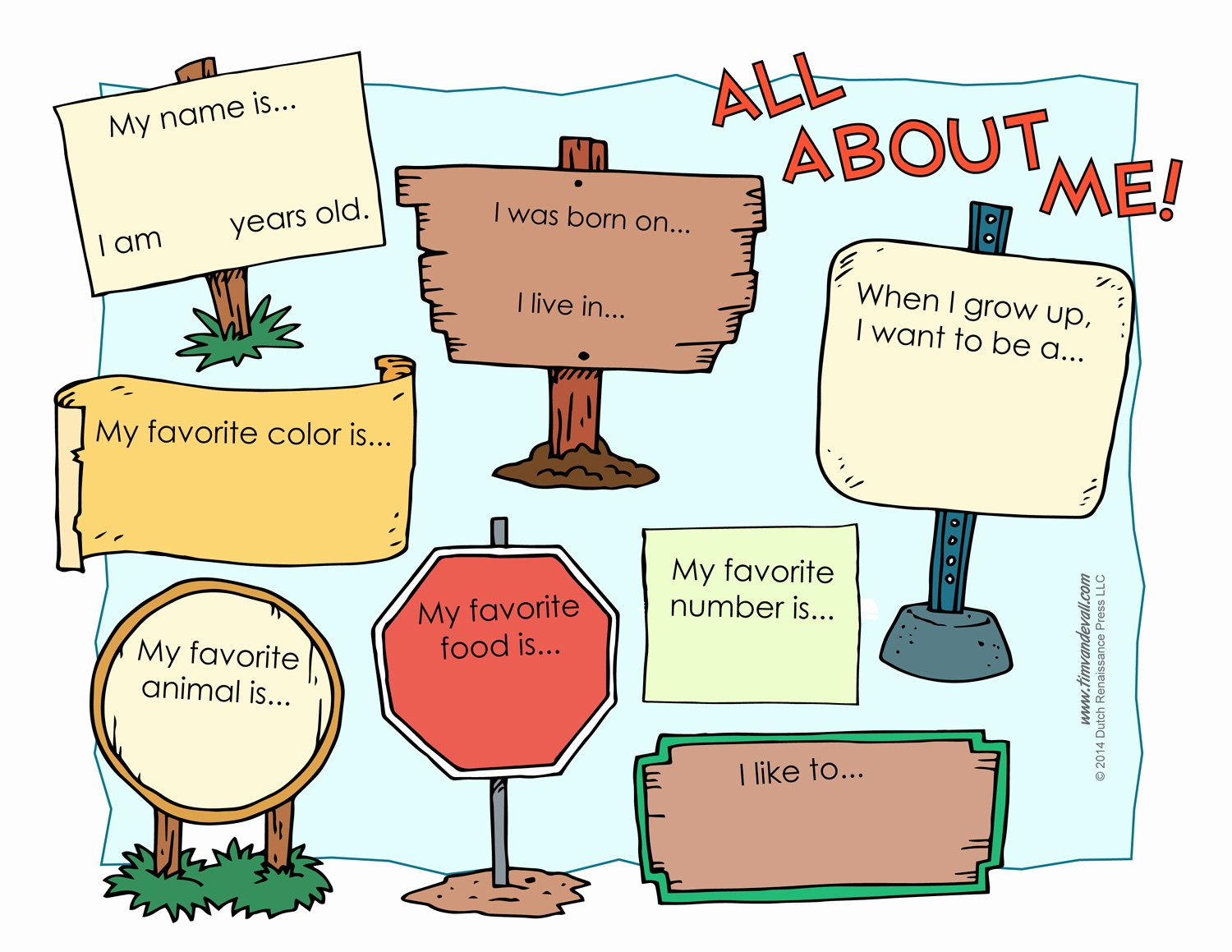 50 All About Me Printable Worksheet