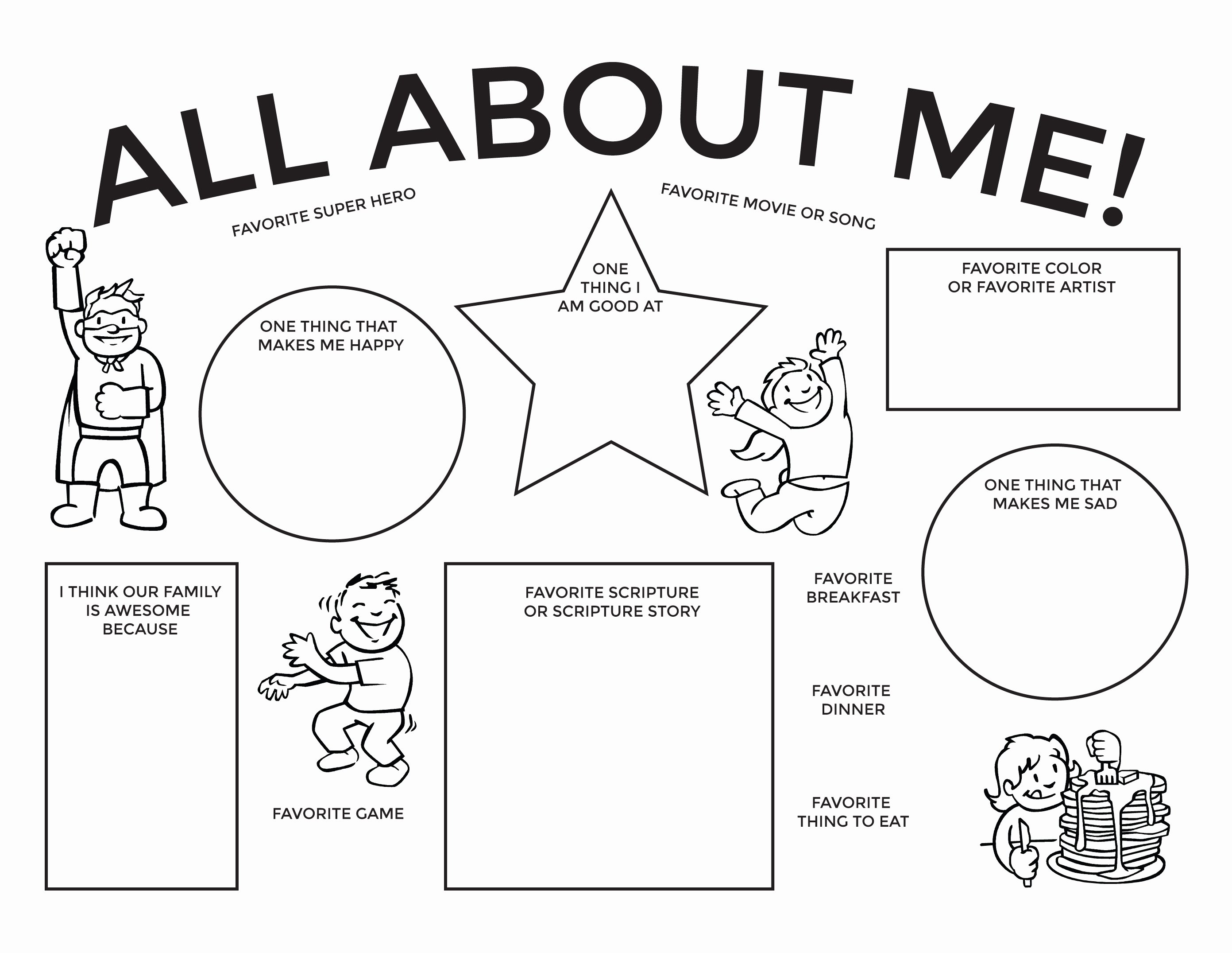 50 All About Me Worksheet