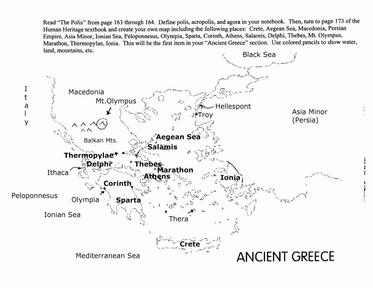 50 Ancient Greece Map Worksheet