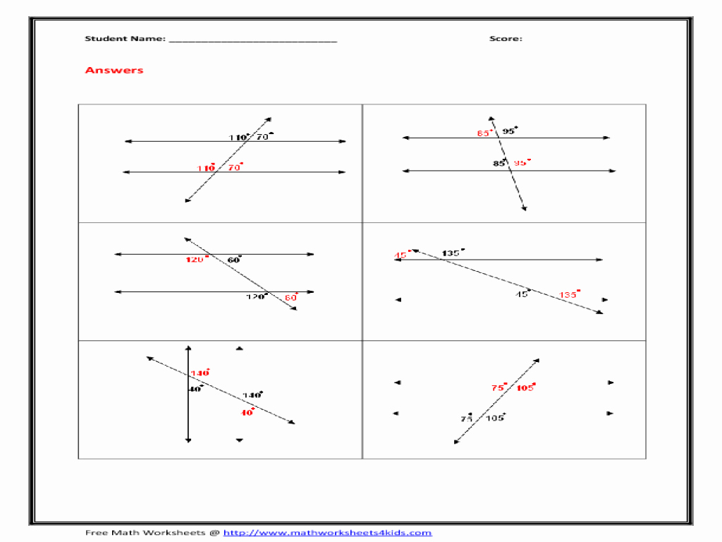 50 Angles In Transversal Worksheet Answers