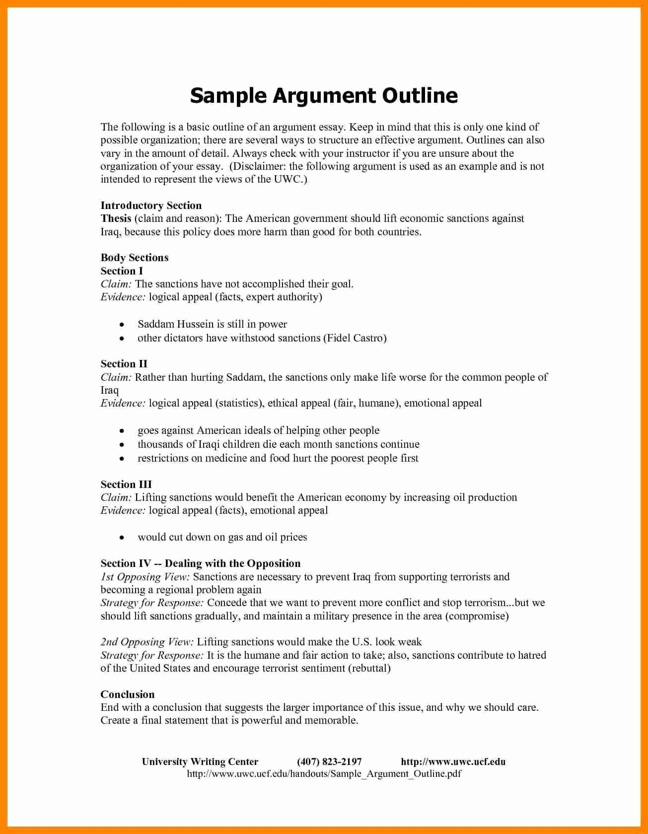50 Argumentative Essay Outline Worksheet