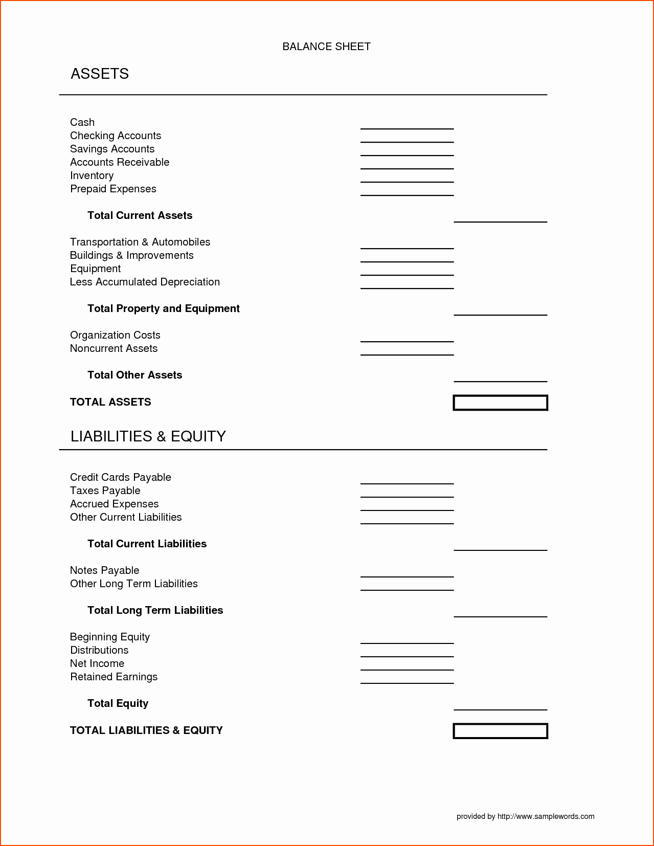 50 Assets And Liabilities Worksheet