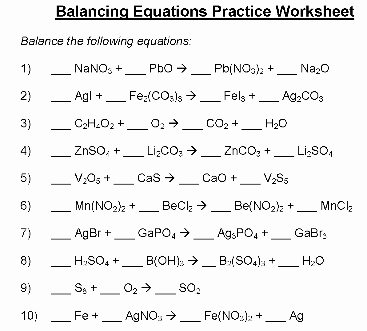 49 Balancing Equations Practice Worksheet Answers