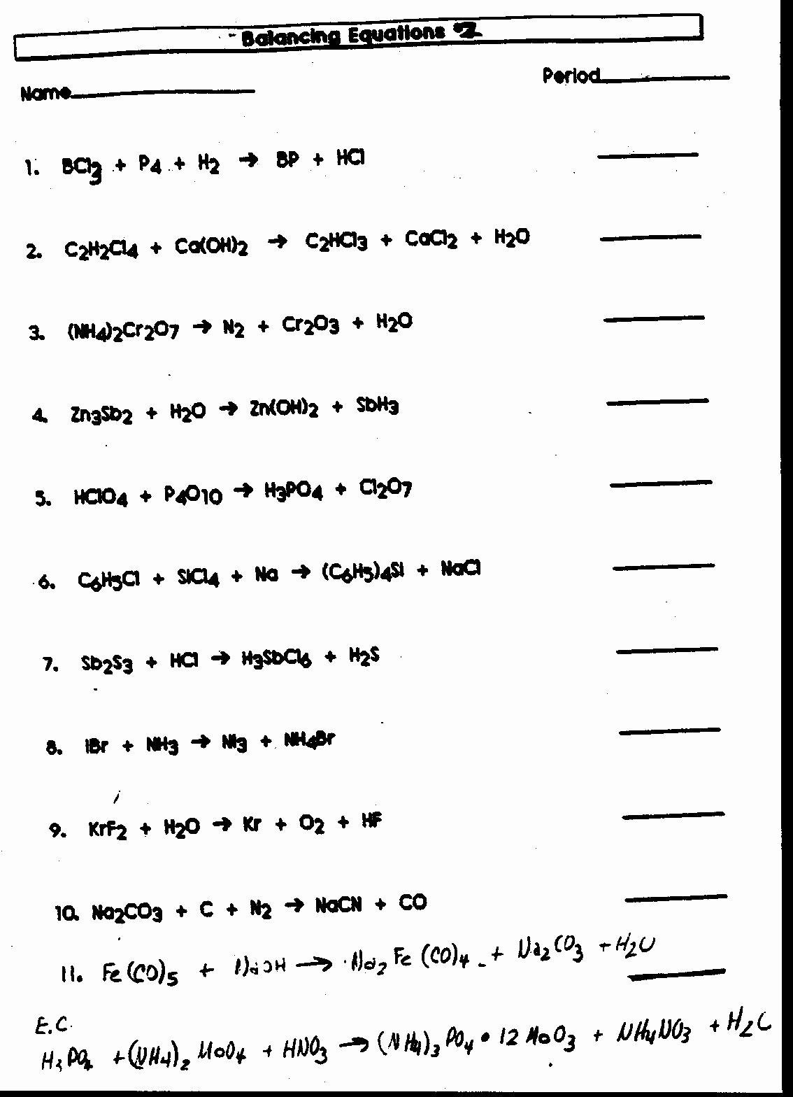50 Balancing Equations Worksheet Answers