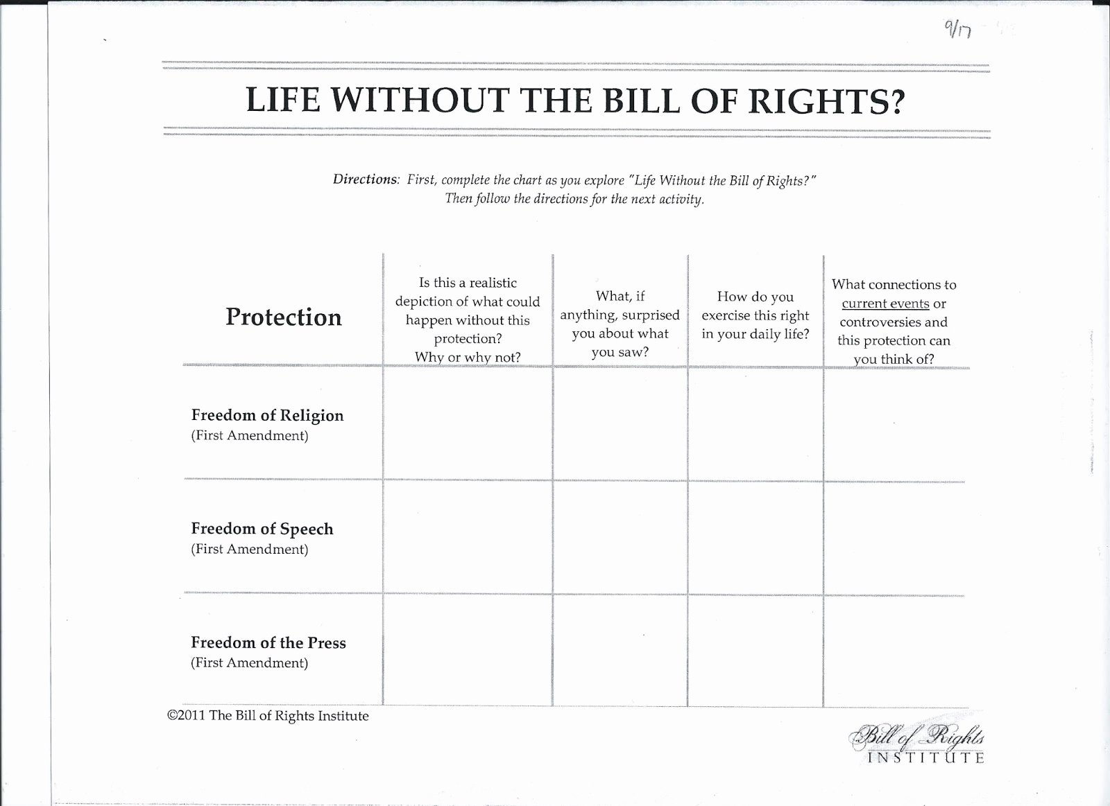 50 Bill Of Rights Scenario Worksheet