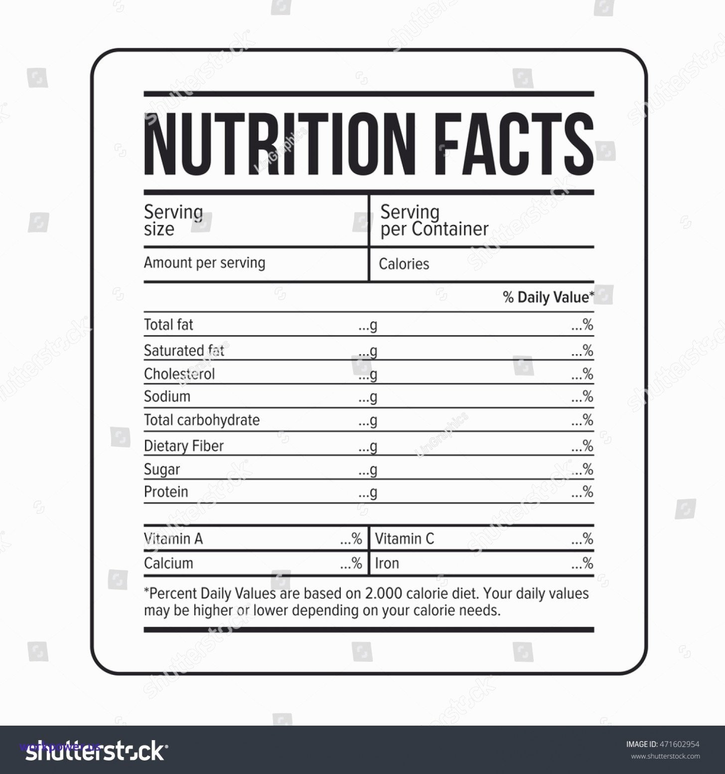 50 Blank Nutrition Label Worksheet