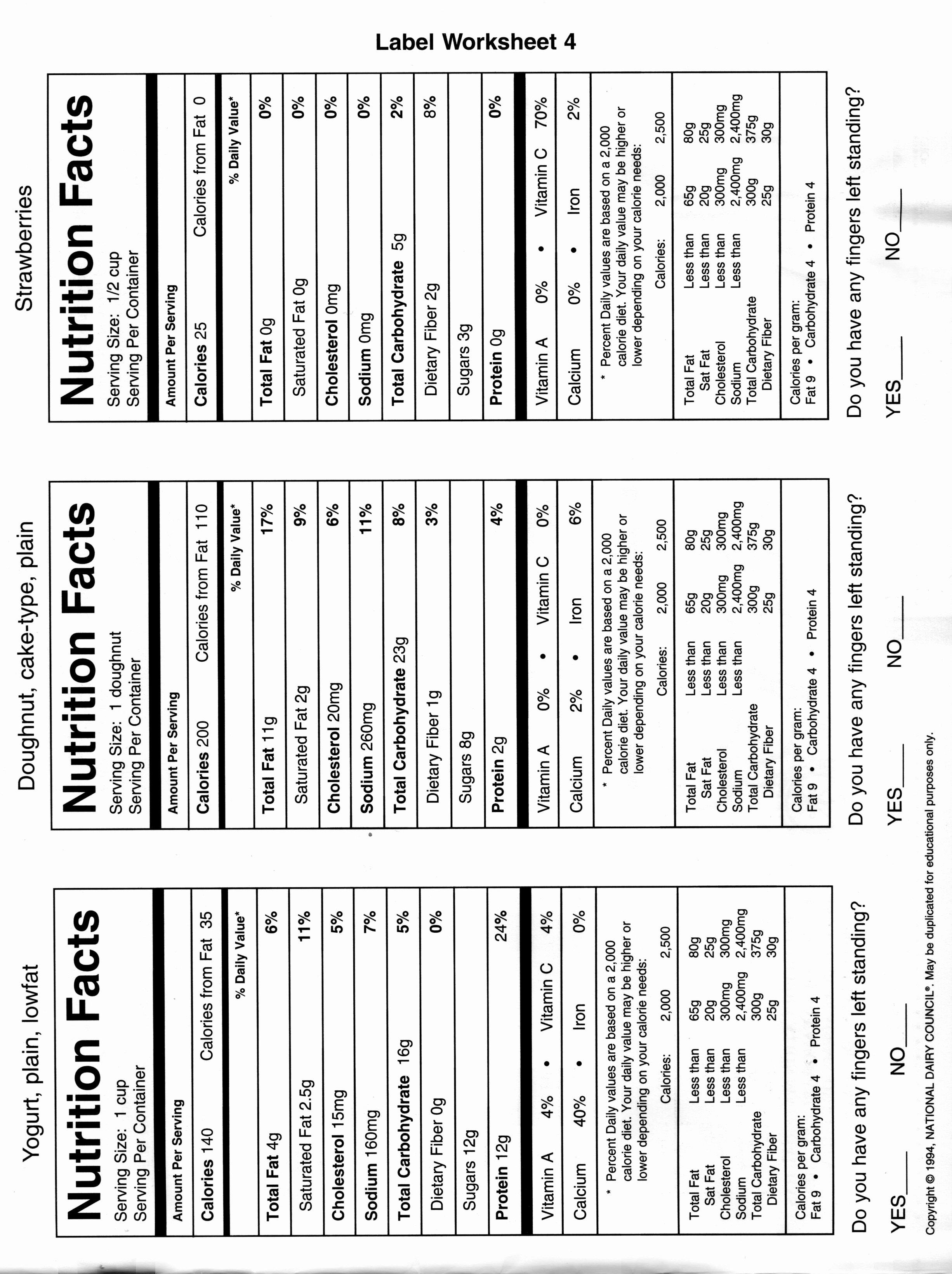 50 Blank Nutrition Label Worksheet
