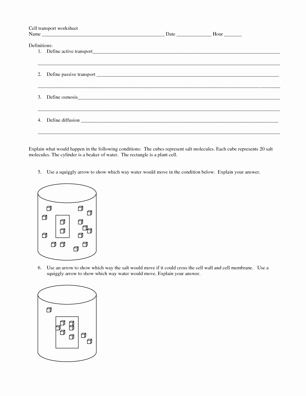 50 Cell Transport Worksheet Answers