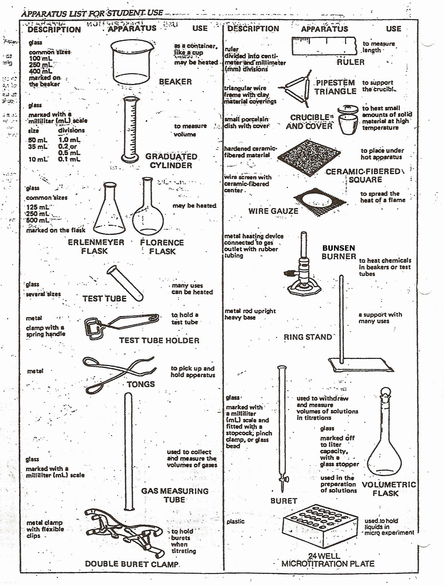 50 Chemistry Lab Equipment Worksheet