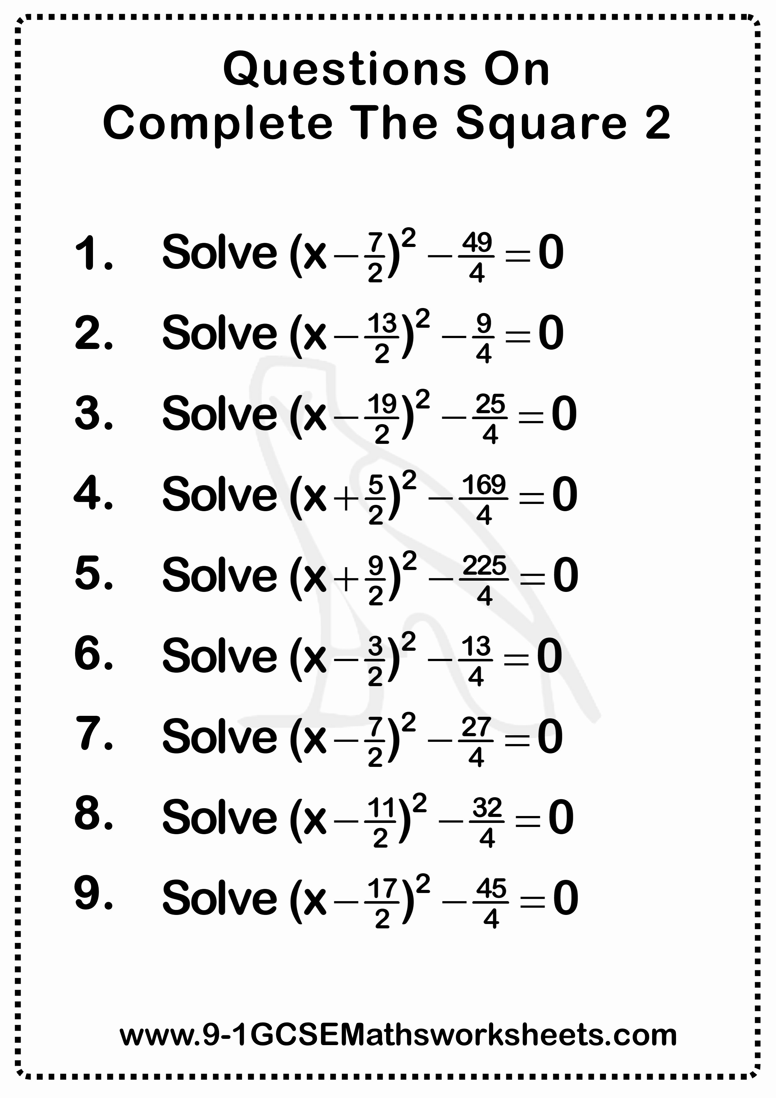 50 Completing The Square Practice Worksheet