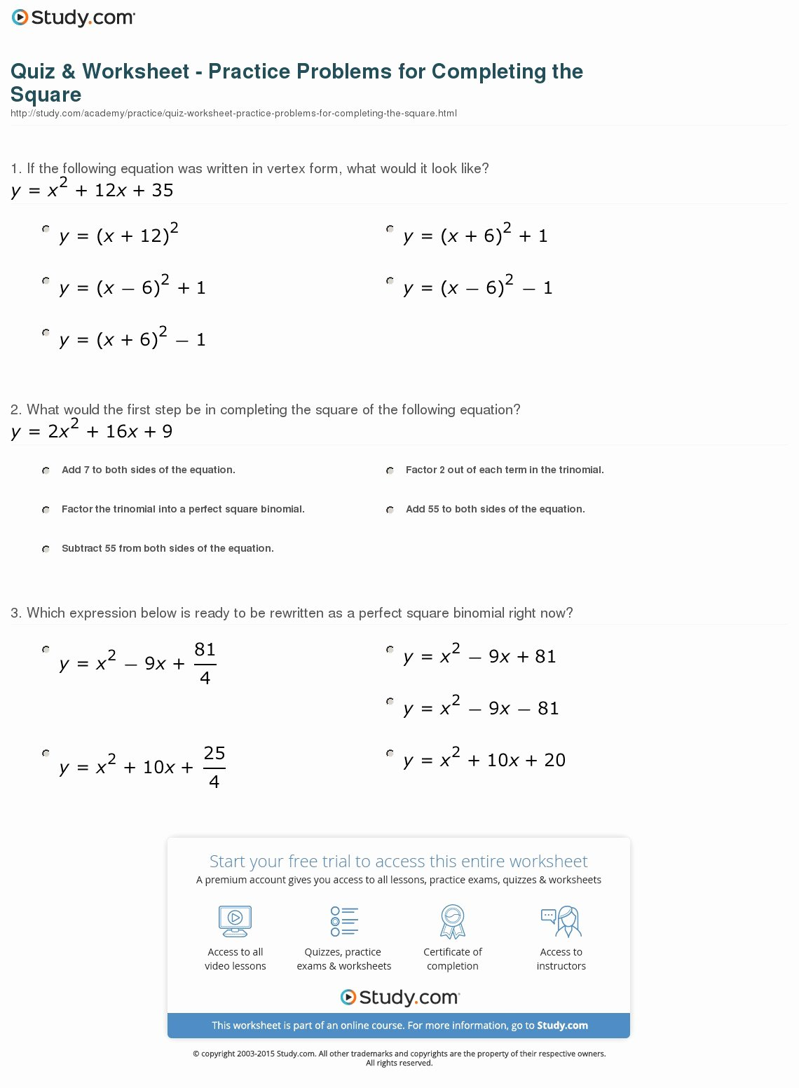 46 Completing The Square Worksheet