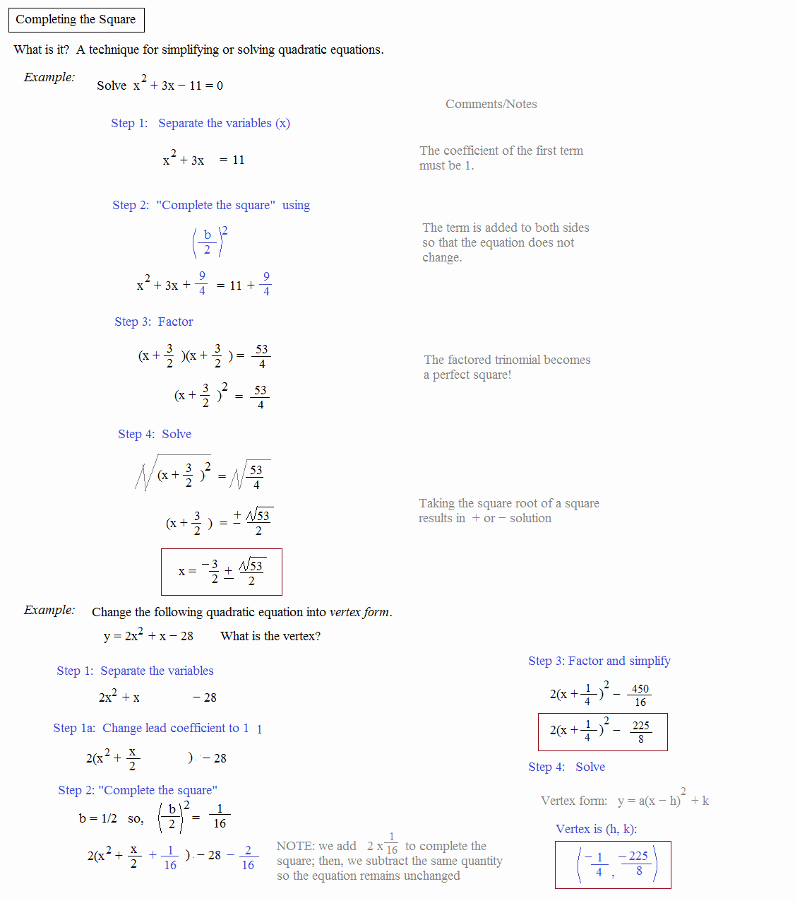 50 Completing The Square Worksheet